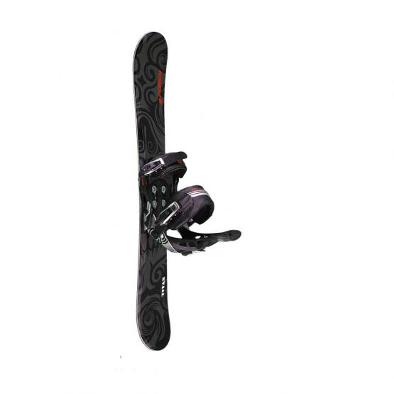 Snowblades and 2 Strap Snowboard Bindings Black and Red 90 cm side view
