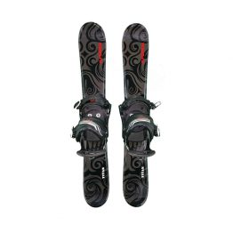 Snowblades and 2 Strap Snowboard Bindings Black and Red 90 cm