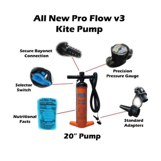 "PKS Pro Flow V3 MEGA Kite Pump 20"" Specs"